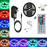 Led Lights Strip TOPSHARP Fairy Lights 5M 150LEDs non-Waterproof Led Lights Full Kit + 5050 RGB Led Strip + 44 Key IR Remote + 12V 3A UK Charger (Built-In IC And Fuse)Power Supply