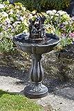 XL 84 cm Solar Wasser Spiel Garten Brunnen Deko Springbrunnen Zier Brunnen Garten Dekoration wahlweise mit LED Beleuchtung (Kippeimer)