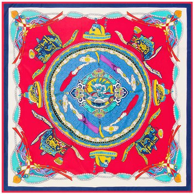 AHUIOPL 100% Twill Silk Women China Dragon Fly Patrón Pañuelo para el Cuello Foulard Femenino Grande Cuadrado Pañuelos Hijab, Sky Blue