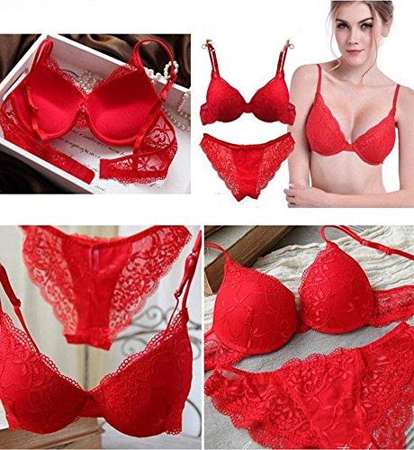 Nature Damen Spitzen Push Up BH Unterwäsche Sets Red