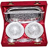 Crafticia Golden Silver Plated Brass Bowl 4 Inch, Spoon & Tray Set Of 5 Piece Decorative Handicraft Gift Item Home Decor Showpiece