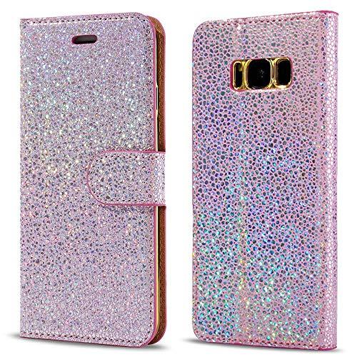 LCHULLE Samsung Galaxy A5 Hülle (2017), Pearl Spots Bling Glitter Slim PU Leder Flip Case Silikon Rückseitige Abdeckung mit Stand Brieftasche Magnetische Verschluss Buch Abdeckung (Rose Gold) Pearl Flip Case
