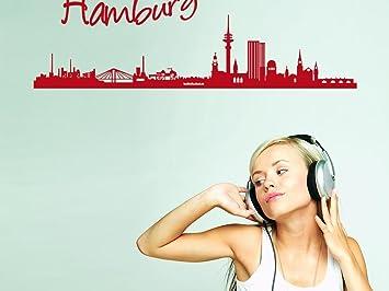 Wandaufkleber Tattoo Wanddeko Deko Fr Wohnzimmer Skyline Hamburg Stadt Schrift 120x40cm 070 Schwarz