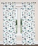 LJ Home Fashions Leaf Design Öse/Ring Top Ösen Preston Vorhang, 100% Baumwolle, Weiß/Türkis/Blau/Grau, 137x 241cm, 2-teilig