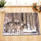 LB Paquete de Lobos Grises Europeos en Nieve,Animal Salvaje,alfombras de baño...