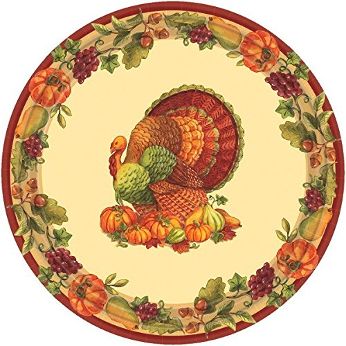 t Thanksgiving Party Round Luncheon Paper Plates (Pack of 60), Multicolor, 2.25 x 9.1 ()