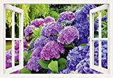 Artland Qualitätsbilder I Wandtattoo Wandsticker Wandaufkleber 130 x 90 cm Blumen Hortensie Foto Lila B8CV Hortensien im Garten