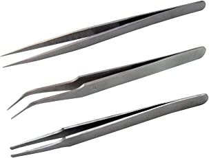 UniQual Curved, Straight and Plucker Tweezer, 5inch (Set of 3)