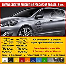 Kit adesivi stickers PEUGEOT 106 206 207 208 306 406 8 adesivi tuning auto -SCEGLI SUBITO COLORE- car pegatina Cod.0489 (Nero cod. 070)
