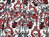 Skulls & Flames Print Baumwolle Popeline Stoff Meterware,