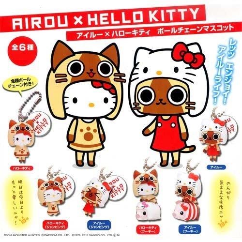 Capsule Airou x Hallo Kitty Kugelkette Maskottchen ganze Reihe von 6 (Japan-Import) -