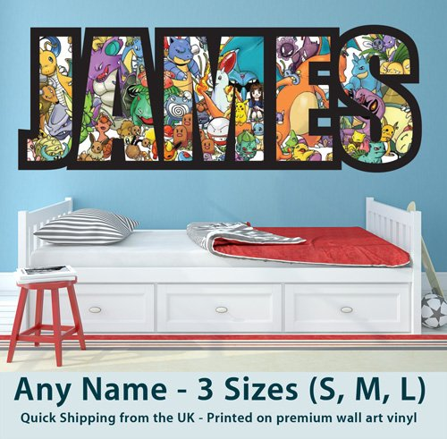 Price comparison product image Childrens Name Wall Stickers for Boys / Girls / Kids Bedroom - Any Name in Pokemon Go Design design Wall Art / Decals / Stickers - Premium Quality Removable Vinyl