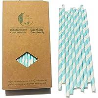 Hellblaue und weiße Streifenstrohhalme, Papierstrohhalme zum Trinken 7,75 Zoll dekorierte Strohhalme, Schachtel mit 100…
