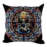 Xmansky Funda de almohada abrazo de lino del estilo moderno de París Notre Dame 45x45cm, ventana de vidrio con patrón rosaz