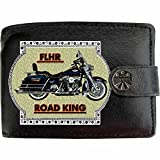 HARLEY DAVIDSON FLHR image sur KLASSEK Hommes RFID Portefeuille Porte-monnaie Réel Noir Cuir Moto Bike cadeau d'accessoire avec boîte en métal produit HARLEY DAVIDSON Non officiel