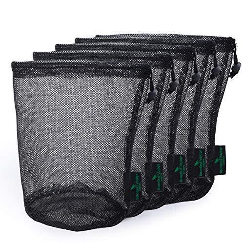 iBasingo 5 Stück Durable Nylon Mesh Drawstring Bag Travel Stuff Sack für Golf Ball Flasche Pot Outdoor Tools Tennis Mesh Storage Ditty Bag -