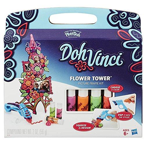 Play-Doh Spielzeug - DohVinci Flower Tower Bilderrahmen Kit Spielset - Enthält 4 Farben
