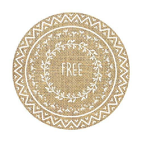 réf1o14Deco. 11-Set Tisch rund-Motiv Freedom und Federn-Jute, Naturfaser-Dekoration Stil Boho Bohème Chic