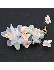 khskx-the nueva novia joyas flores flores, flores hilo de seda Tan Dulce, Corea del Sur boda vestido de novia tocado Beaded Edge Clip Accesorios, B