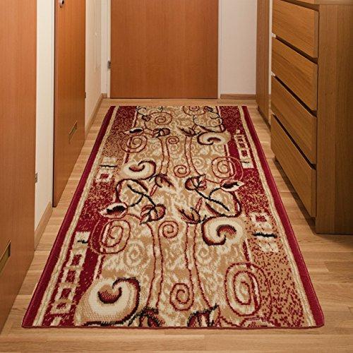 Tapiso Atlas Läufer Flur Kurzflor Teppich Küche Wohnzimmer Retro Lilien Blumen Floral Abstrakt Muster Rot Beige ÖKOTEX 100 x 400 cm
