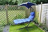 Schwingliege Hängeliege Sonnenliege Dreamchair Gartenliege Garten Liege blau mit bequemer Auflage, Kopfkissen und großem Sonnensegel