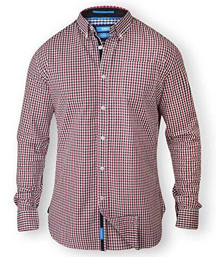 Da uomo Duca D555Kingsize Big & Tall manica lunga a quadretti camicia button down colletto Red/black XXXXL
