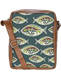 Snoogg Seamless Pattern Of Fish Abstract Texture Sling Bags Crossbody Backpack Chest Daypack Travel Bag Book Bag...