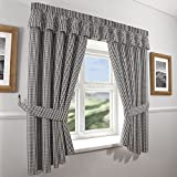 Gingham Check Kitchen Curtains - Black White (46