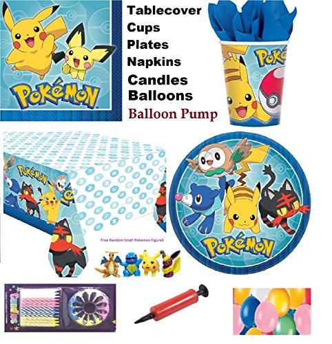 eburtstags-Party-Set für 16 Gäste - kostenlose einfache Ballons & Kerzen (Ballon-pokemon)