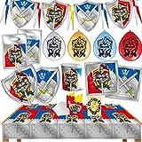 HHO Ritter Knights Party-Set 90tlg. für 12 Gäste Teller Becher Servietten Tischdecke Tüten Einladungen Luftballons Wimpel