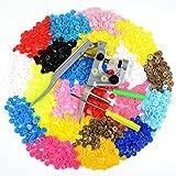 Idealeben 350pcs T5 Snaps Botón Redondo Plastico con Alicate DIY Manualidades (25 Colores)