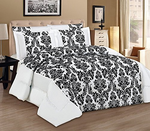 3tlg. weiß Tagesdecke 240x260cm Bettüberwurf Moderne Taft Samt Flockdruck Barock Bettdecke Ornamente (Damast Samt Bettdecke)