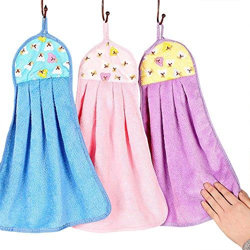 Tong Yue Handtücher, bunte helle Farben, weicher Samt, für Küche, Badezimmer, zum Aufhängen, 4Stück - Farbe Helle Küche