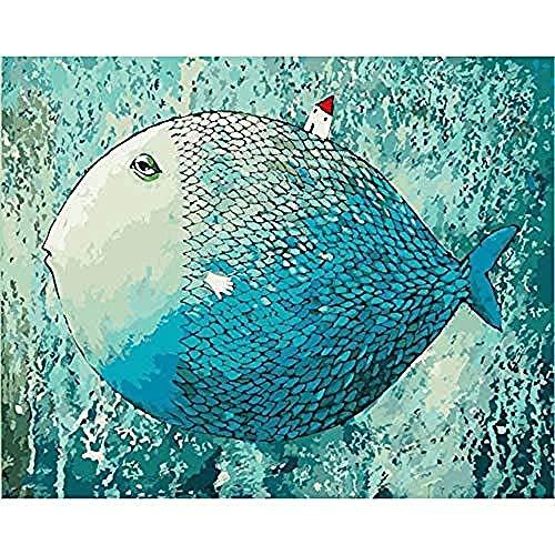 Schlafen Mit Fischen Den Kostüm - yhwygg DIY Ölgemälde Schlafen Fisch Tier DIY Digitale Malerei Digitale Moderne Wandkunst Leinwand Malerei Einzigartiges Geschenk Dekoration - (40X50 cm) Mit Rahmen Malen Nach Zahlen