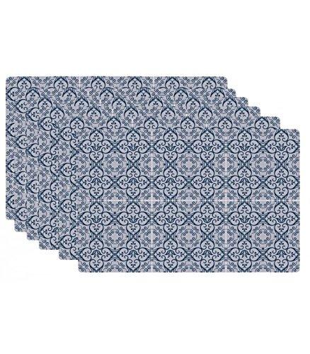 Set de Table Design Carreaux de Ciment Bleu en Vinyle - Set de 6
