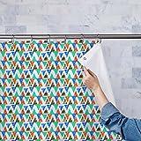 AZ Mixed Triangled Washable Waterproof Shower Curtain 54 x 84inch; SINGLE PIECE