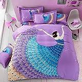 yaneryangguang Bettbezug gepolsterte Bettwäsche dreiteiligen Anzug 3D lila Tänzerin-150_cm_x_200_cm