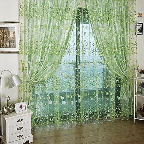 Kasit Blume Tüll Voile Tür Fenster Vorhang Rosa Drapieren Tafel Sheer Schal Valances Für Schlafzimmer Badezimmer Wohnzimmer Kinderzimmer - Grün