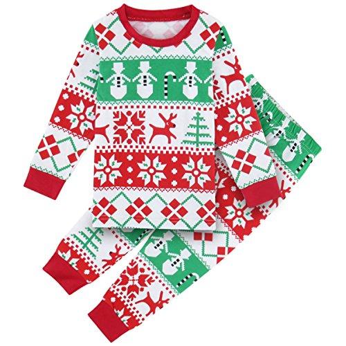 Mädchen Weihnachten Kinder Winter Lang Pyjama Set (Rot, 3 Jahre) ()