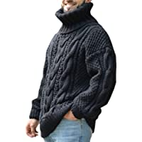 Mens Jumper Turtleneck Knitted Pullover Cable Stitch Regular Fit Casual Elegant Plain Winter Fall Warm Comfy High Neck…