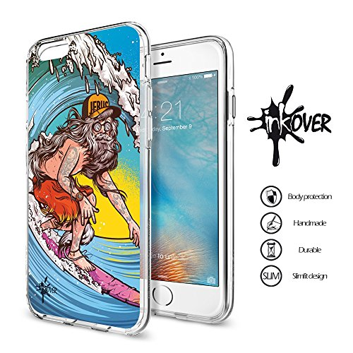 Cover iPhone 6 / 6S PLUS - INKOVER - Custodia Cover Protettiva Guscio Soft Case Bumper Trasparente Sottile Slim Fit Tpu Gel Morbida INKOVER Design Pirati Pirates Corsaro Teschio SKULL per APPLE iPhone SURF