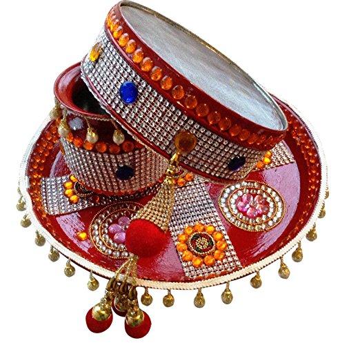 Unique Arts Beautiful Karwa Chauth Maroon Puja Thali Set
