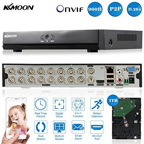 KKMOON Digital Video Recorder  16CH Kanal  P2P Cloud Netzwerk Onvif  + 1 TB Festplatte unterstützt Plug Play Android/iOS APP für CCTV Sicherheit Kamera-überwachungssystem