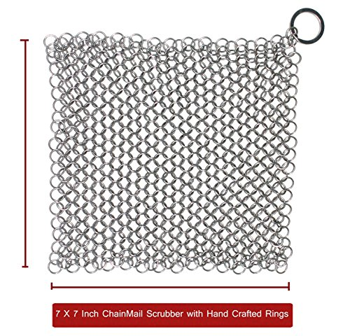 The Best Handcrafted Premium Cast Iron Cookware Cleaner by Kitchen Express - XL 7x7 Inch Food Grade Stainless Steel Chainmail Scrubber With Drying Hook