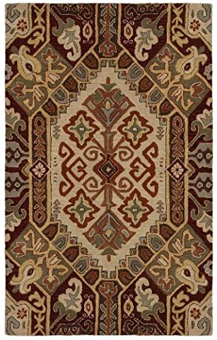 2' x 3' Rectangular Rizzy Home Accent Rug SU8105 Beige/Red Color Hand Tufted in India