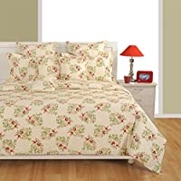 Swayam Signature Caramel Collection Cotton Double Bedsheet with 2 Pillow Covers - Multicolour