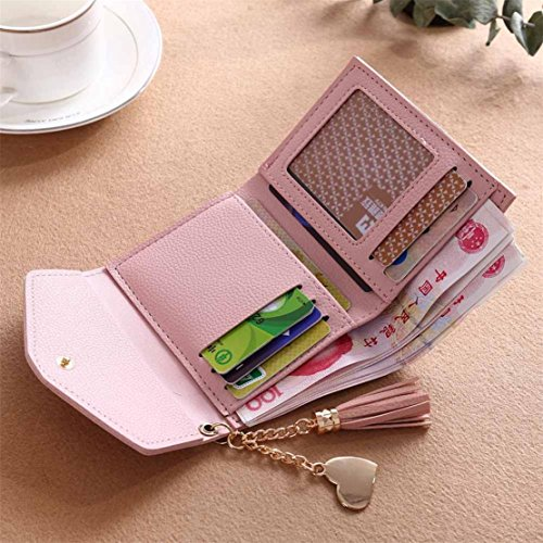 Bluestercool Portafoglio Donna Piccoli Elegante Tassel Pelle Credit Card Holder Rosa
