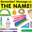 100 Personalised stick on name labels for school stationery. Kids waterproof tags - PLEASE SEND NAME INFO STRAIGHT AWAY AT PURCHASE