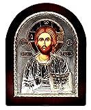 Jesusbuch Byzantinische Ikone Sterling Silber 925 behandelt Größe 25x20cm
