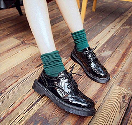scarpe primavera con il cinturino dal fondo pesante scarpe scarpe casual rotonda della bocca poco profonda singoli pattini delle donne Black